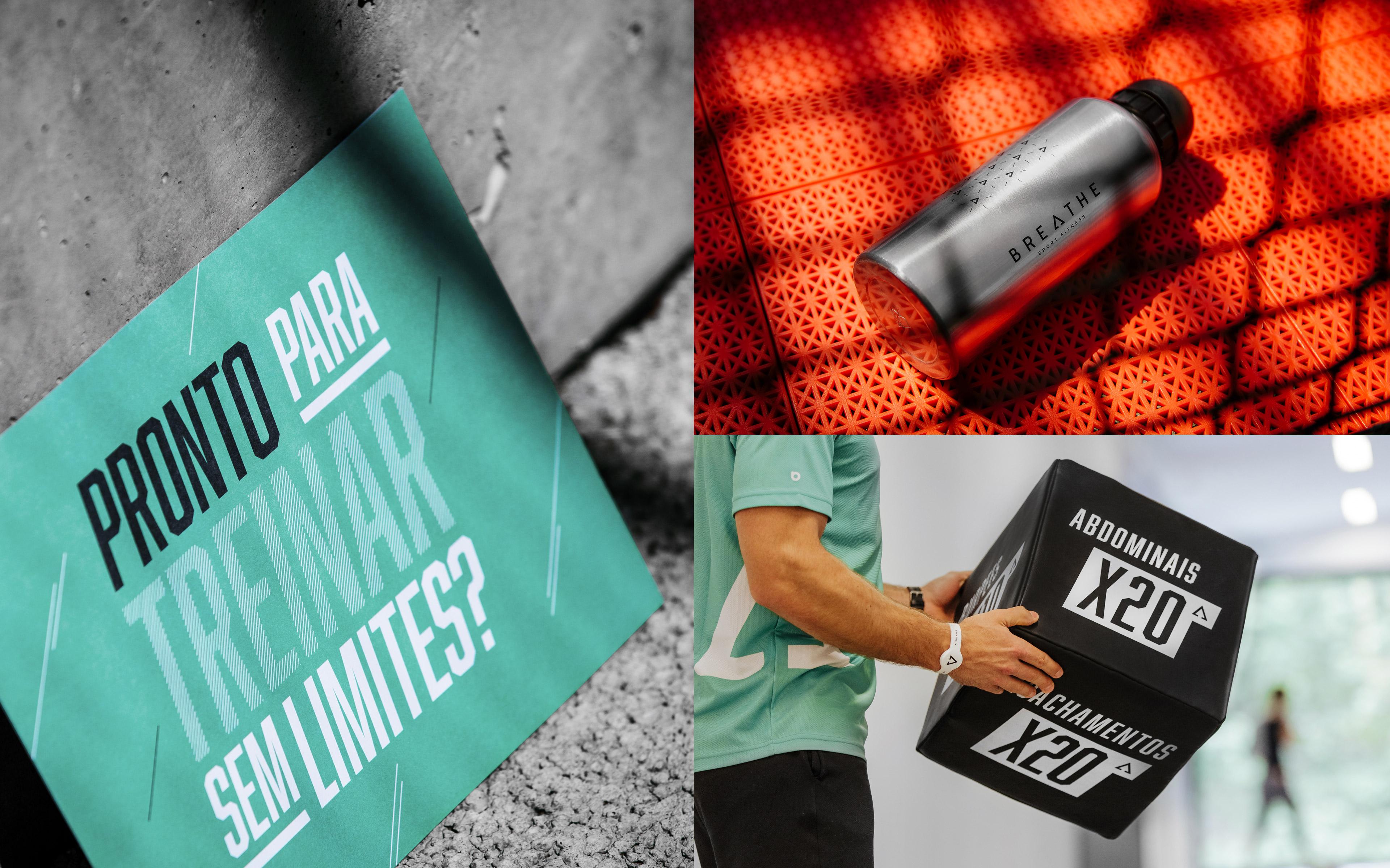 Montagem de várias imagens do ginásio Breathe Sport Fitness no Parque da Cidade do Porto.