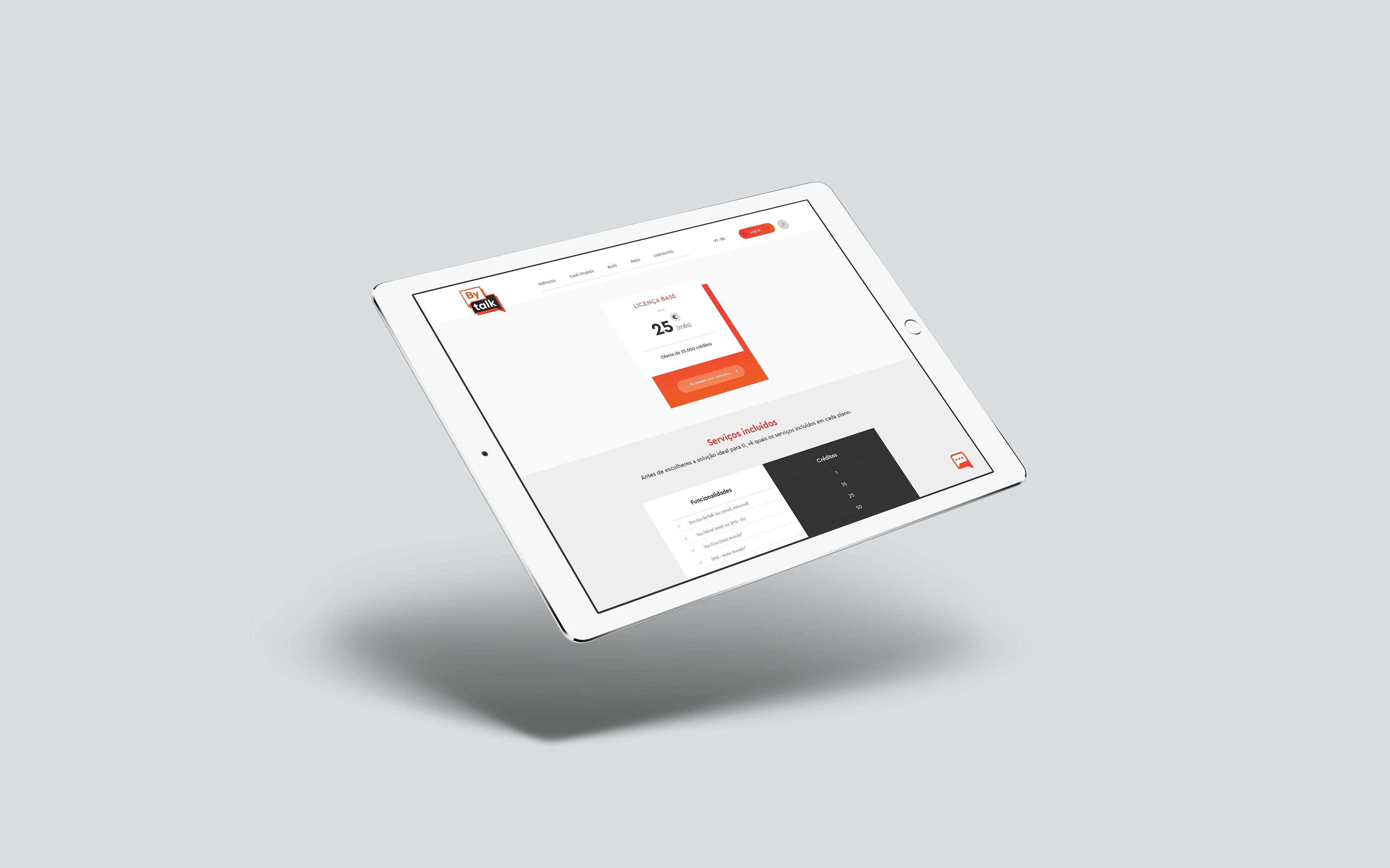 Mockup Web design Bytalk. Imagem representativa do mockup web design da Bytalk.