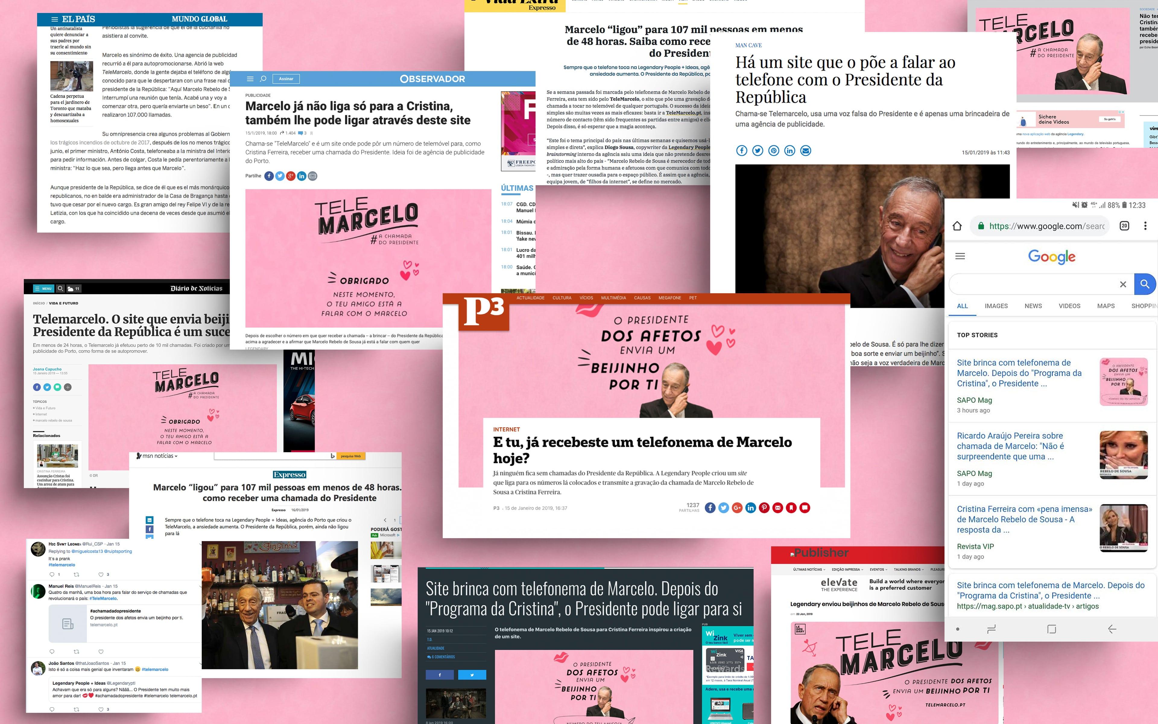 A campanha digital do TeleMarcelo ligava às pessoas a distribuir beijinhos. Na imagem tem vários prints de notícias que sairam relativamente a esta campanha.