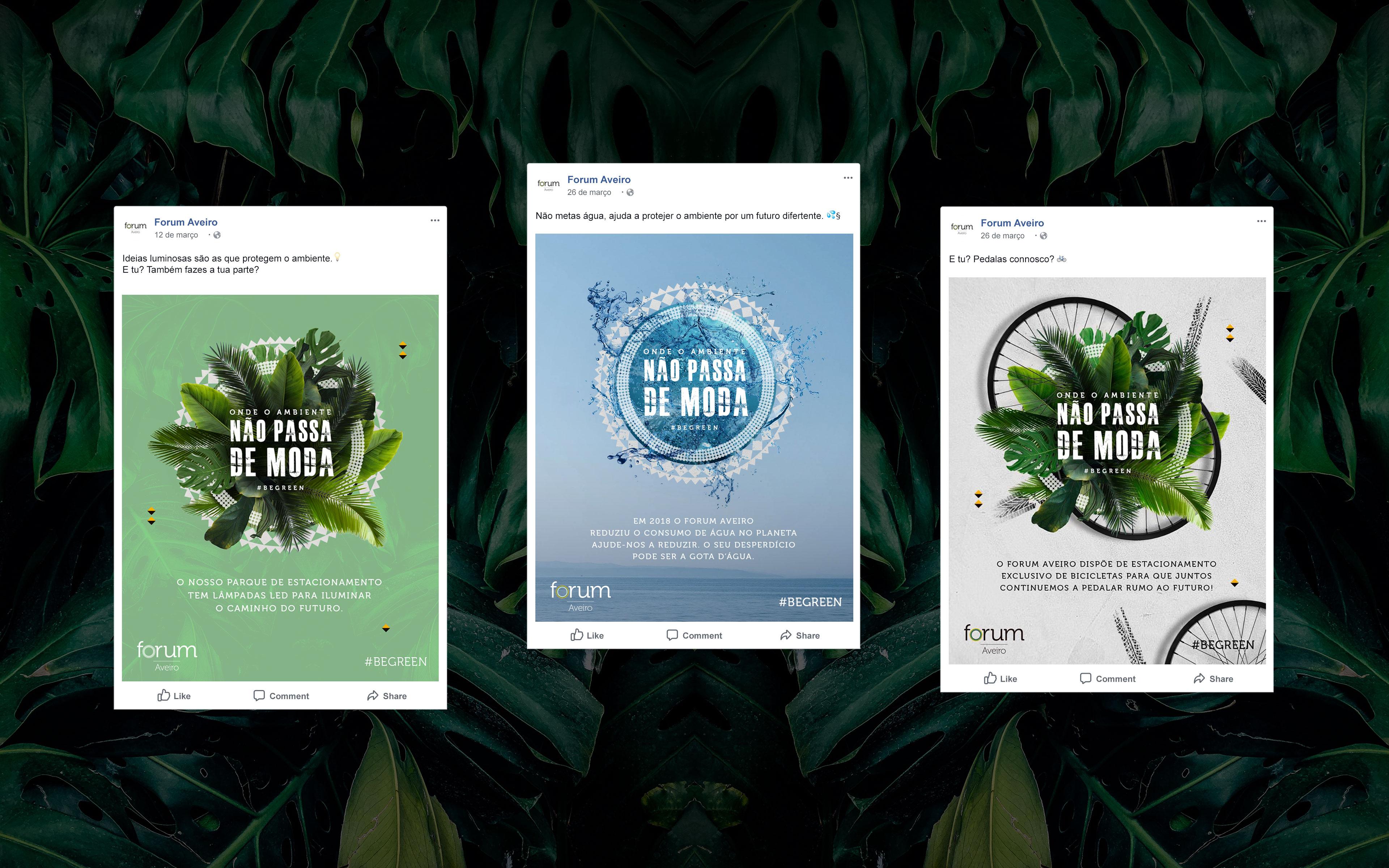 Posts no Facebook da campanha Forum Aveiro